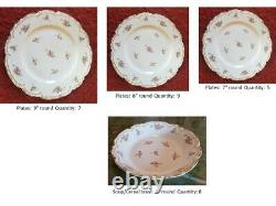35 piece set Limoges dinnerware pattern CHF 1321 pink roses and forget-me-nots