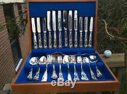 38 Piece Decorative SILVER PLATED Kings Pattern Cutlery Set With Box