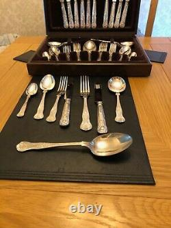 44 Piece Kings Pattern Silver Plated Cutlery Set Stamped Epns A1 Sheffield