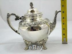 7 Piece Tea Set Rogers Bros 1847 Silverplate Heritage Coffee Tray Floral Pattern
