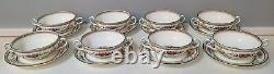 8 Cream Soup & Saucer Sets Wedgwood Columbia Pattern W595 (16 Pieces)