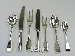 84-piece SILVER FIDDLE PATTERN CANTEEN of CUTLERY SET, 1830/40 12 person service