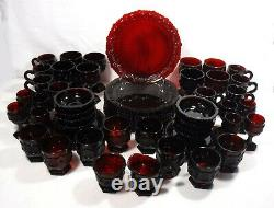 AVON crystal CAPE COD RUBY RED pattern 58-piece SET SERVICE for 8