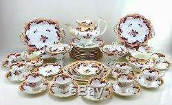 Antique 1800s Ridgway Baroque Pattern 52 Piece Set Chinoiserie China Porcelain
