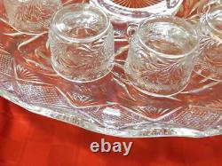 Antique L. E Smith Pressed Glass Holiday Pattern 15 Piece Punch Bowl Set