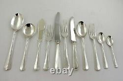 BOXED 124-PIECE SILVER CANTEEN of CUTLERY SET Rattail pattern by CARRS 12 person