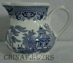 CHURCHILL china WILLOW BLUE pattern 53-piece SET SERVICE for 8 +