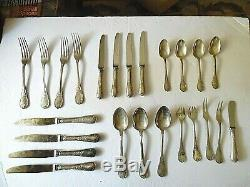 Christofle Silverplate 5-Piece Place Setting (24 Pieces), Marly Pattern, France