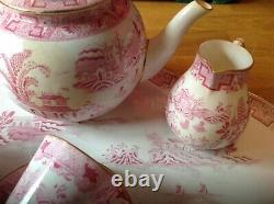 EXTREMELY RARE Antique Royal Worcester Pink Willow Pattern 12 Piece Cabaret Set