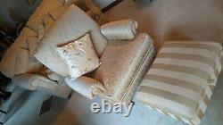 Gold Fabric 3 Piece Sofa Set Suite Arm Chair and Foot Stool Patterned Handmade