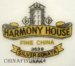 HARMONY HOUSE china SILVER SONATA pattern 21-piece SET for 7 -no Cup Saucer Sets