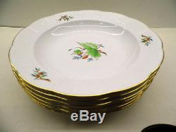 HEREND ROSEHIP PATTERN RIM SOUP OR PASTA PLATES SET 6 PIECES, 9,5inches dia