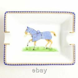 HERMES Authentic Horse pattern Pottery Mini Ashtray 2 Pieces set New from Japan