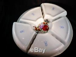 Herend 7-Piece Hors D'oeuvres Dish Set Fruits & Flowers Pattern with Paperwork