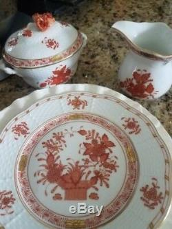 Herend Indian basket & chinese bouquet patterned tea set 18pieces