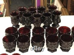Huge Set Vintage Avon Cape Cod Pattern Ruby Red Depression Glass 130 Piece