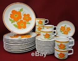 LENOX china FIRE FLOWER pattern 48-Piece Set Service for 12 cup dinner bread
