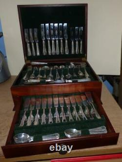 Large 147 Piece 12 Place Bead Pattern Sheffield Silver Plated Canteen Cutlery