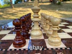 Large Chess Set Wooden Chess Pieces and Walnut Patterned Chess Board Handmade