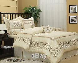 Luxurious Ivory 7-Piece Jacquard Comforter Bedding Set New