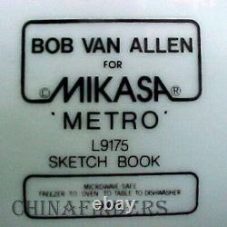 MIKASA china SKETCH BOOK pattern 46-piece SET SERVICE for 9 + Chop Plate