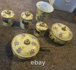 Mac-Kenzie Childs Yellow Buttercup Dot Pattern Cookware Enamelware EXCELLENT