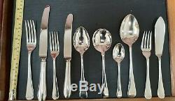 Old English pattern silver plated canteen 12 place settings, 112 pieces
