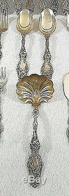 Sterling Silver Flatware Set by Whiting 91 pieces, Lily Pattern, 1902