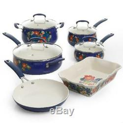 The Pioneer Woman Kitchen Cookware Set Floral Pattern Ceramic 10 Piece Nonstick