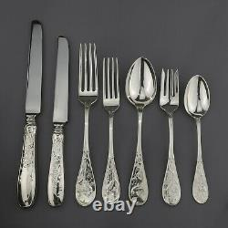 Tiffany Japanese Style Audubon Pattern Sterling Silver Cutlery Set. 42 Pieces