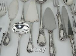 VERY FINE FRENCH Christofle SILVERPLATE FLATWARE SET, MARLY PATTERN 131 PIECES