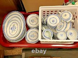 Vintage 80 Piece Set Chinese Porcelain Dishes Rice Flower Pattern By Tienshan