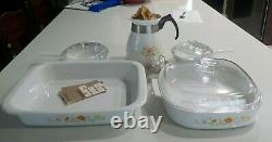 Vintage Corning Ware Wildflower Pattern 5-piece set New Old Stock in Box