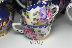 Vintage NIPPON china TEA SET Flower pattern Hand-painted 16 pieces