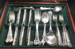 Vintage Silver Plated Kings Pattern Cutlery Of 60 pieces 6 Setting