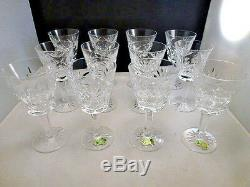 Waterford crystal Ashling pattern WINE glasses 12 pieces SET OF 12 PERFECT